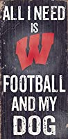 NCAA Wisconsin Badgers 15cm x 30cm All I Need is Football and My Dog Wood Sign