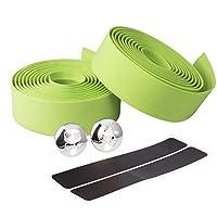 Takelablaze ハンドル バーテープ 自転車 ハンドルバー テープ クッション EVA製 バーテープ ロード 滑り止め エンドキャップ、エンドテー付属 (グリーン)