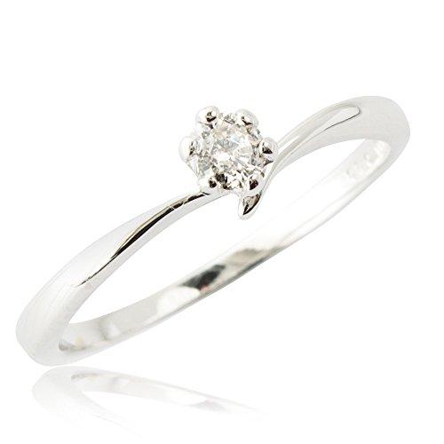 One&Only Jewellery 【鑑別書付】 0.1ct G・Hカラー Pt100 プラチナ 天然 ダイヤモンド リング 指輪 6本爪 (9号)