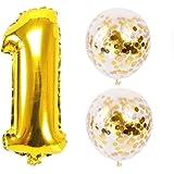 Big Hashi お誕生日パーティー 風船 飾り付け バルーンx2 数字(1)バルーン ゴールドx1 風船セット(QQ-01)