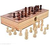 プレミアム木製チェスとバックギャモン木製玩具 子供 大人 パズルボードゲーム チェス