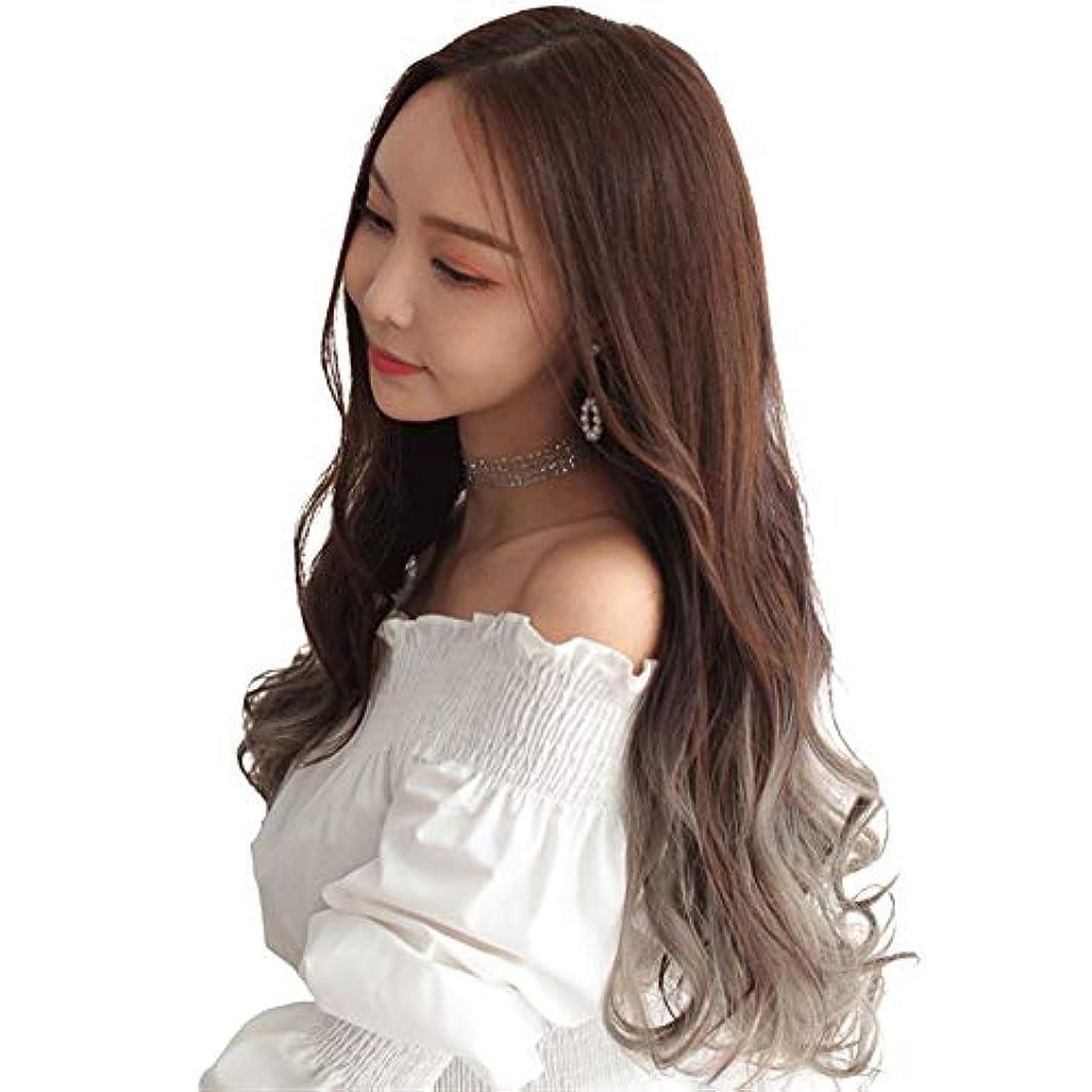 荒らす昇進受取人KX-QIN かつら女性の長い巻き毛の大きな波ネット赤いかわいいかつらU字型ハーフヘッドファッショングラデーションカラー化学繊維かつらセット パーティーに参加する (Color : Chocolate dyed thin...