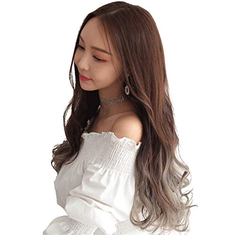 KX-QIN かつら女性の長い巻き毛の大きな波ネット赤いかわいいかつらU字型ハーフヘッドファッショングラデーションカラー化学繊維かつらセット パーティーに参加する (Color : Chocolate dyed thin...