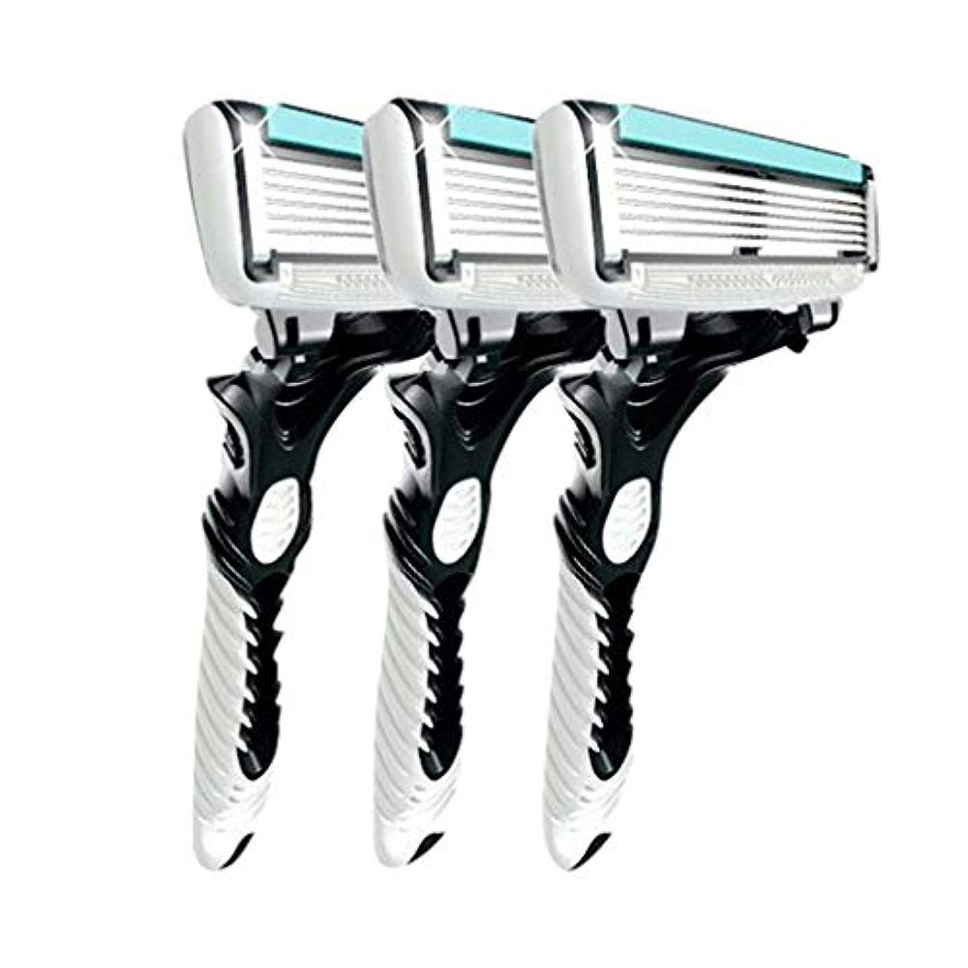 レイフローティング硬さ3pcsの男性の安全の伝統的なクラシック6層シェービング髪ブレードカミソリのマニュアルステンレス鋼のシェービング髪のブレイド