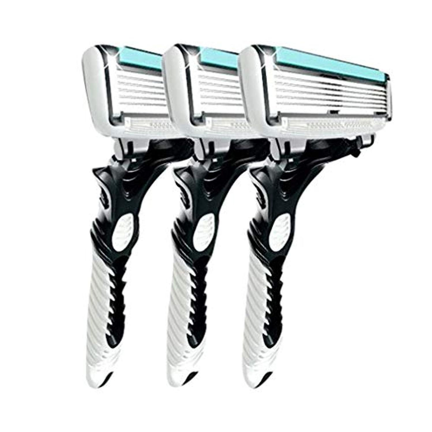 3pcsの男性の安全の伝統的なクラシック6層シェービング髪ブレードカミソリのマニュアルステンレス鋼のシェービング髪のブレイド