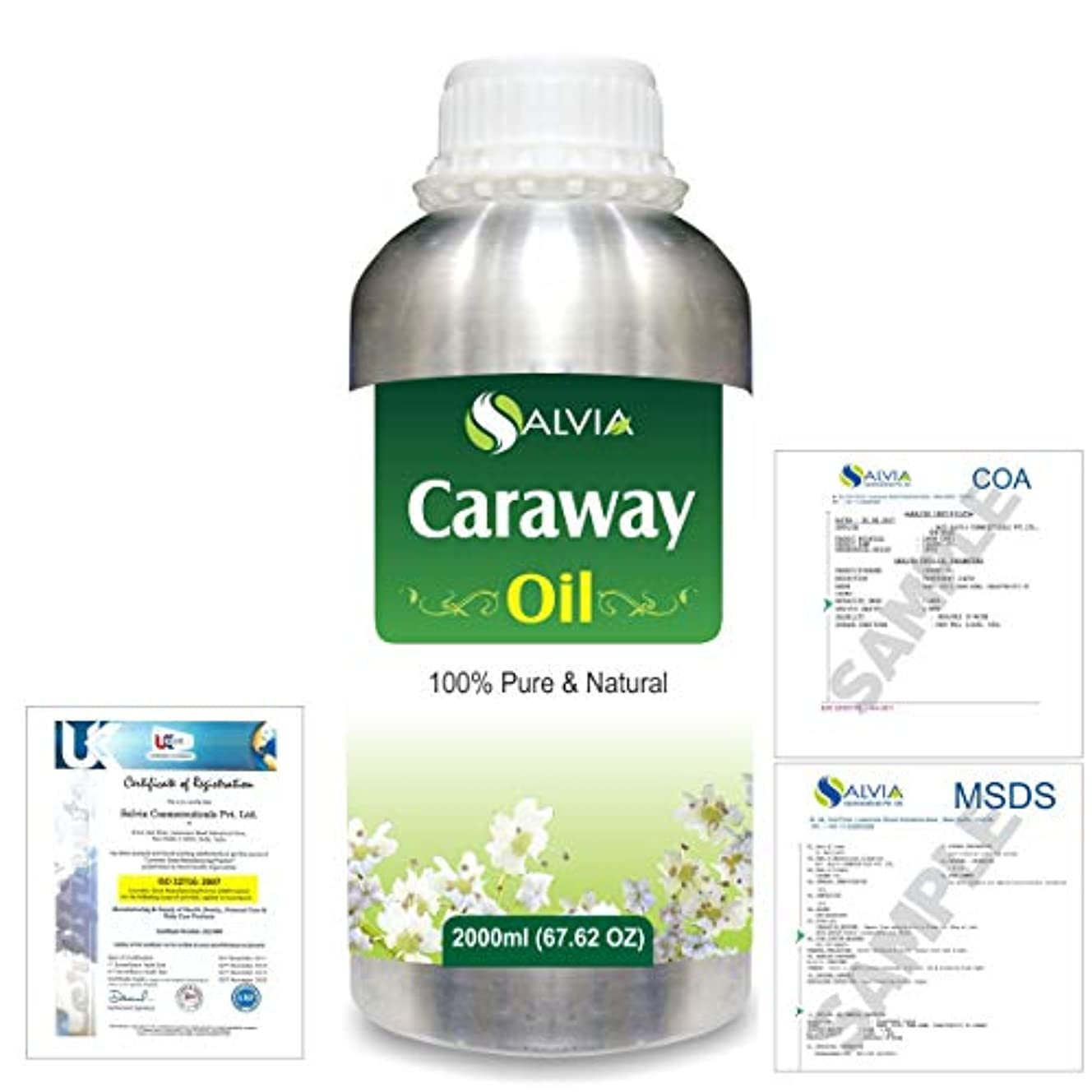 緊張する車両うんCaraway (Carum carvi) 100% Natural Pure Essential Oil 2000ml/67 fl.oz.