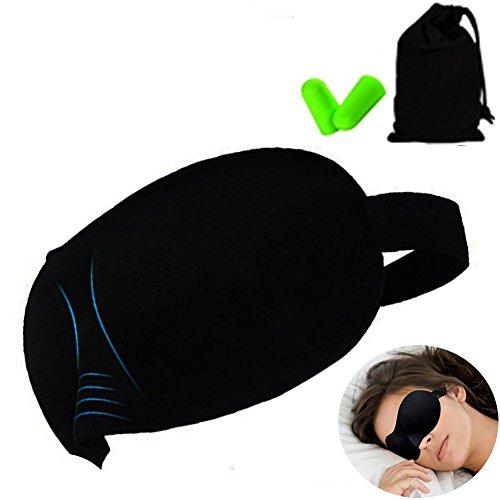 3D立体型 睡眠 アイマスク 高品質 超軽量 圧迫感なし 99%遮光 抜群通気性 化粧したままでいい感じ 究極の柔らか シルク質感 旅行 疲労回復に最適 耳栓 収納袋付き 男女兼用 (ブラック)