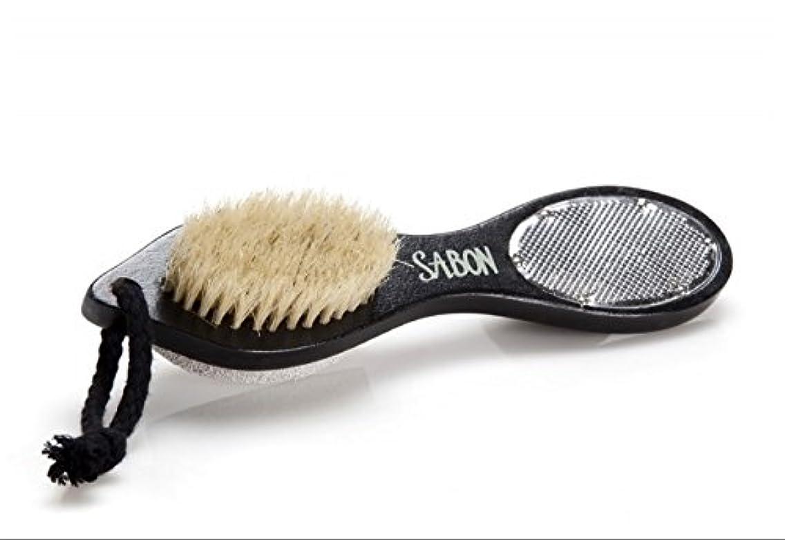 ポンプ忌まわしい混雑【SABON(サボン)】フット用ブラシ《ウォッシュストーン(軽石)付き》 Foot Brush+Stone+Scraper Double Side [並行輸入品]