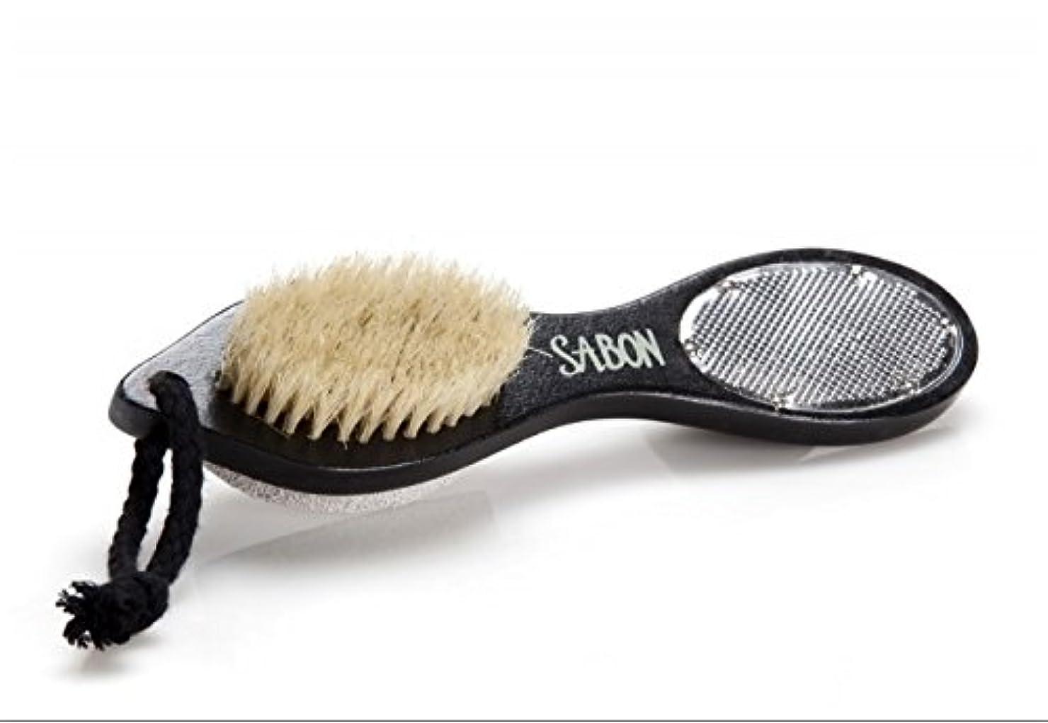 迫害スナッチ怒り【SABON(サボン)】フット用ブラシ《ウォッシュストーン(軽石)付き》 Foot Brush+Stone+Scraper Double Side [並行輸入品]