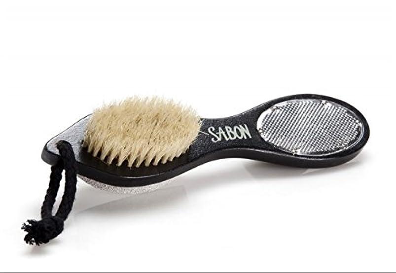 急流破滅大邸宅【SABON(サボン)】フット用ブラシ《ウォッシュストーン(軽石)付き》 Foot Brush+Stone+Scraper Double Side [並行輸入品]