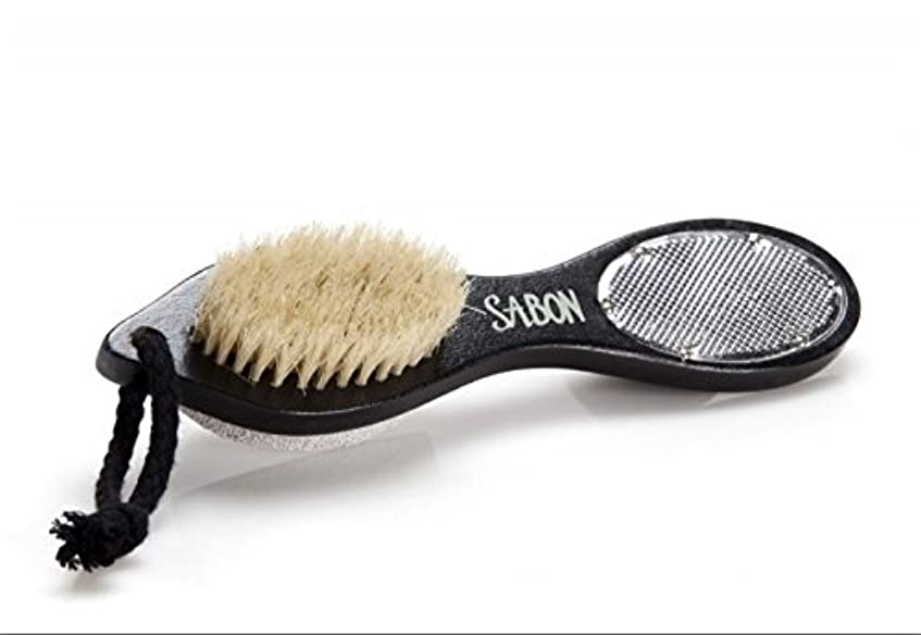 断言する人里離れた気晴らし【SABON(サボン)】フット用ブラシ《ウォッシュストーン(軽石)付き》 Foot Brush+Stone+Scraper Double Side [並行輸入品]