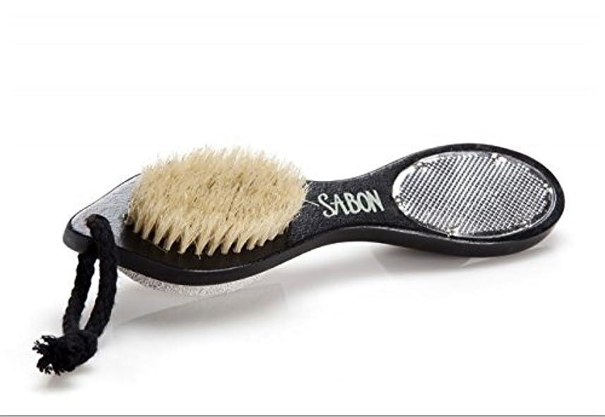 ロマンス葬儀ウィンク【SABON(サボン)】フット用ブラシ《ウォッシュストーン(軽石)付き》 Foot Brush+Stone+Scraper Double Side [並行輸入品]