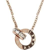ローマ数字 サークル スワロフスキー クリスタル リング ペンダント 18金 ピンクゴールド仕上げ ネックレス ステンレス ジュエリー レディース Pink Gold 胸元
