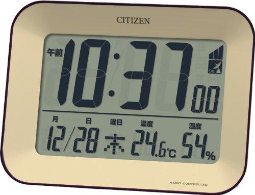 CITIZEN 見易いデジタル オシャレなデザインの電波時計 ビューサイト 茶 8RZ136-006