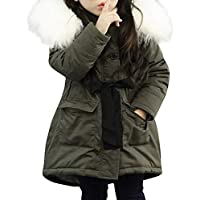 Ashtray - Fashion Kids Coat Boys Girls Hooded Pocket Zipper Fur Collar Straps Waist Coat Thick Padded Winter Jacket Clothes,Size:6 Years,Colour:Army Green (Color : Army Green, Size : 5 Years)