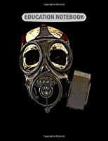 Education Notebook: skull wearing gasmask  College Ruled - 50 sheets, 100 pages - 7.44 x 9.69 inches