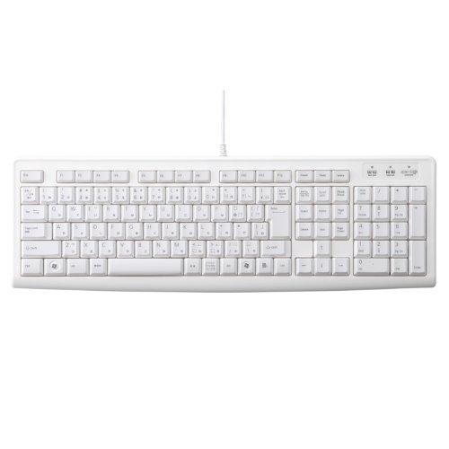 【2009年モデル】エレコム キーボード 有線 USB接続 メンブレン式 ホワイト TK-FCM007WH