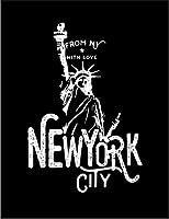【自由の女神 ニューヨーク】 余白部分にオリジナルメッセージお入れします!ポストカード・はがき(黒背景)
