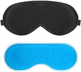PLEMO アイマスク 温熱 ホット 冷却 パック 温冷両用アイマスク マッサージビーズ 目の疲れ 浮腫みやクマ解消 寝室や旅行中の安眠に最適 (黒)