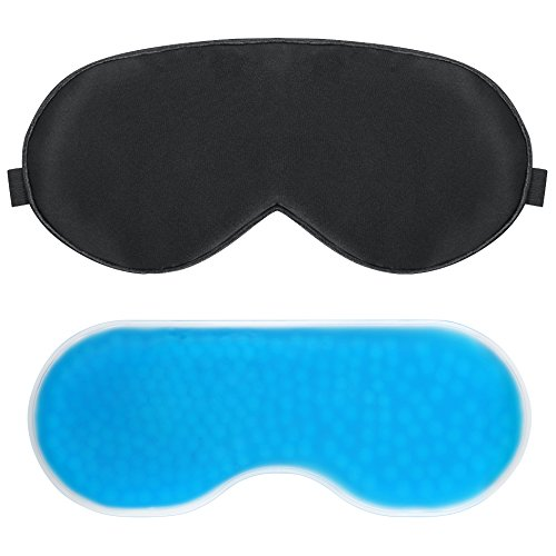 PLEMO クール睡眠アイマスク 温冷両用アイマスク マッサージビーズ 目の浮腫みやクマ 寝室や旅行中の安眠に最適 (ブラック&ブルー)