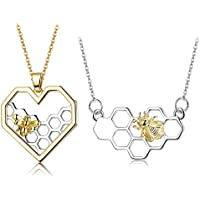ORAZIO 2PCS Stainless Steel Beehive Bee Hive Honey Bee Necklace Hexagon Honeycomb Heart Pendant Necklace