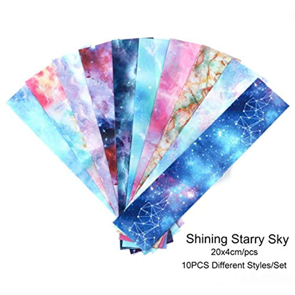 10PCSネイル箔ステッカーセットホログラフィック星空接着剤ラップ転写紙マーブルシャイニングネイルアートデカールジェルスライダー,3