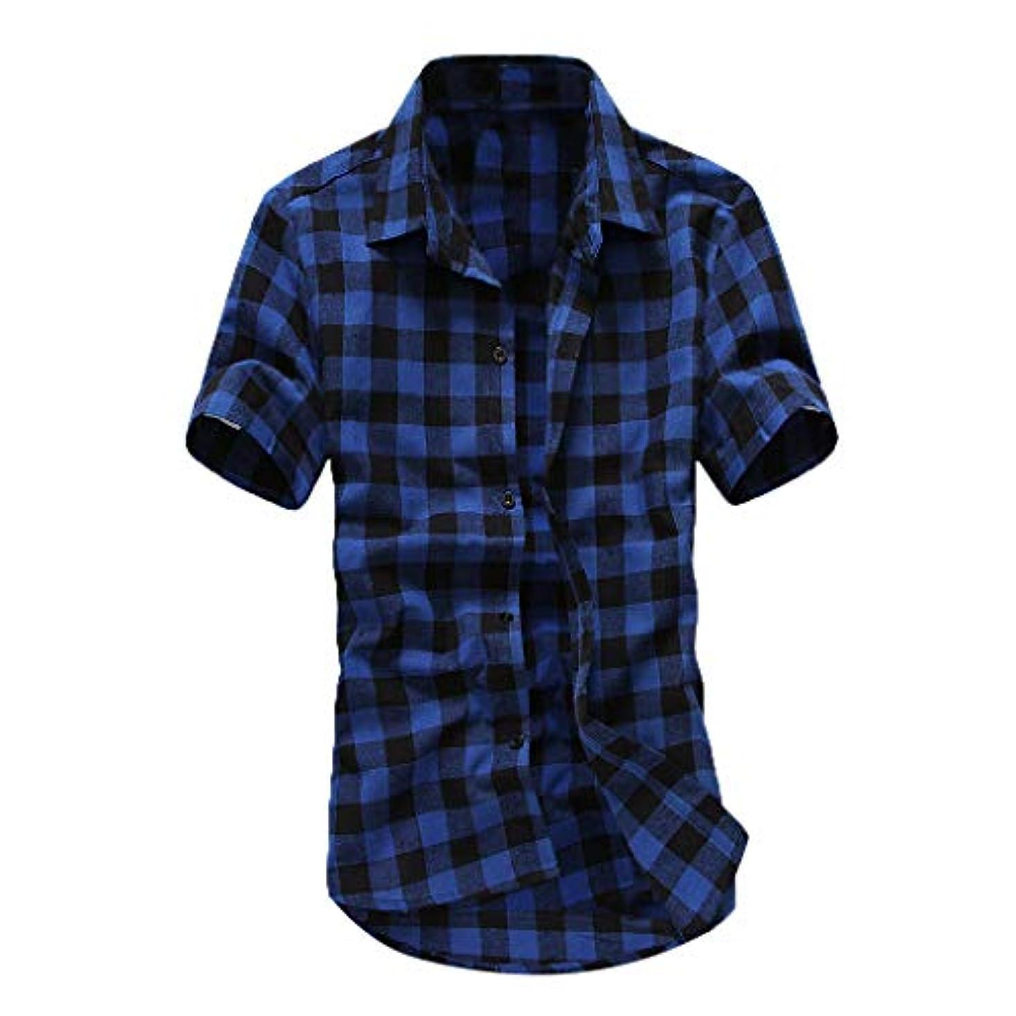 借りるに向かって塊Florrita 男性 tシャツ チェック 柄 半袖 シャツ メンズ Yシャツ カジュアル カラー トップス ウェア 上着 夏服 男性 ファッション 男の子 オシャレ 格子シャツ