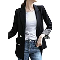 FSSE Women's Blazer Jacket Formal Solid Double Breasted Work Slim Long Suit Coat