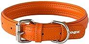 Rogz Leather Buckle Collar Orange LGE 25mm