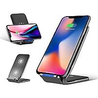 rock space Qiワイヤレス充電器 スタンド 急速充電 2つコイル ワイヤレス充電 チャージャー 置くだけ充電 iPhone X/iPhone8/iPhone8 Plus/Galaxy S6/S6 Edge/S6 Note/Note 5/S7/S8/S7edge/Nexus 5/6/7 対応