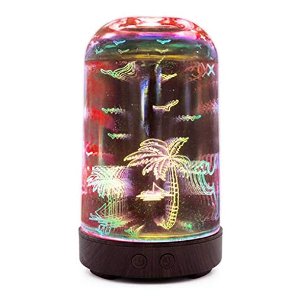 タップ謝る行すばらしいLEDライト、便利な自動操業停止および大きい水漕が付いている3Dガラス100mlギャラクシー優れた超音波加湿器 (Color : Coconut tree)