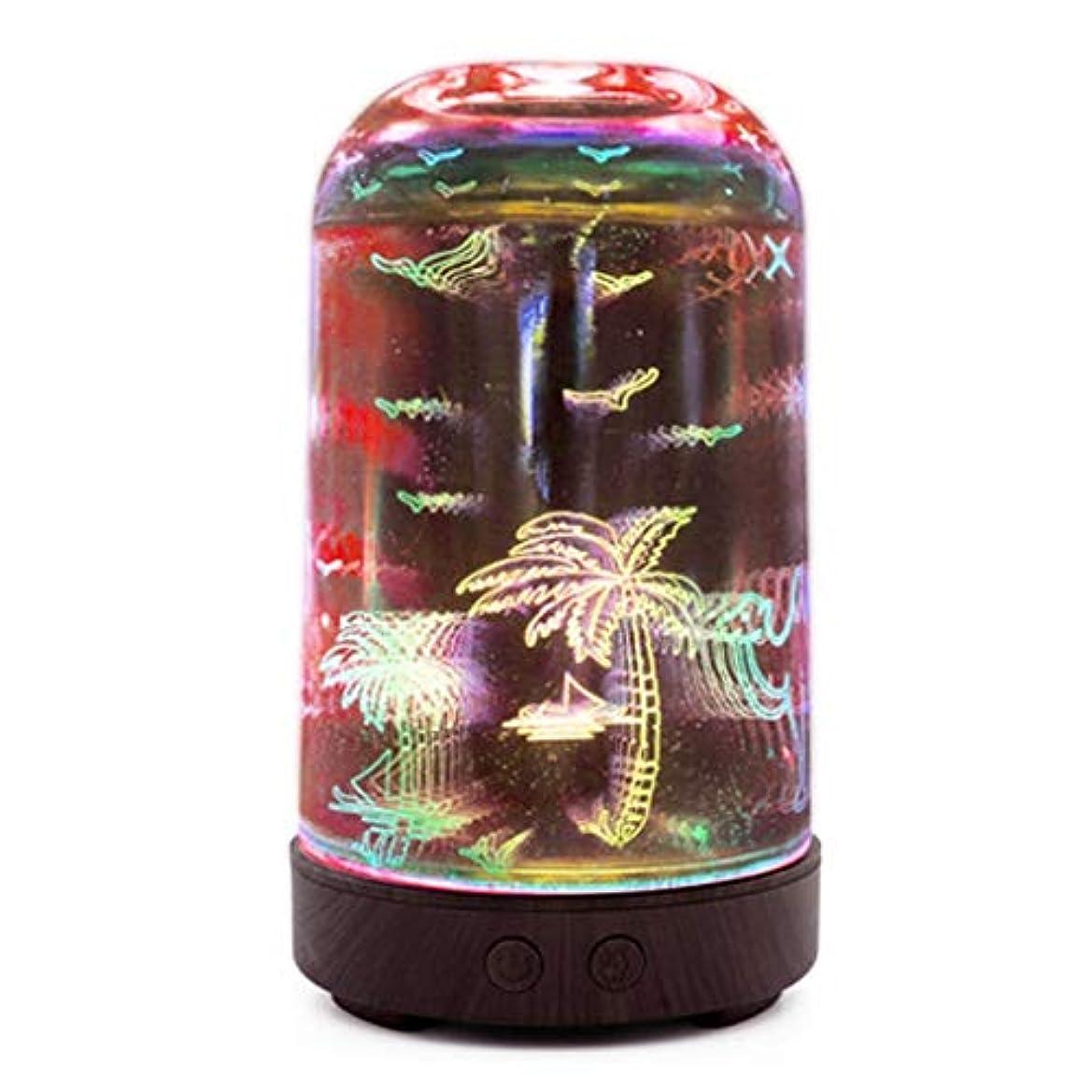 魅力的リズムビームすばらしいLEDライト、便利な自動操業停止および大きい水漕が付いている3Dガラス100mlギャラクシー優れた超音波加湿器 (Color : Coconut tree)