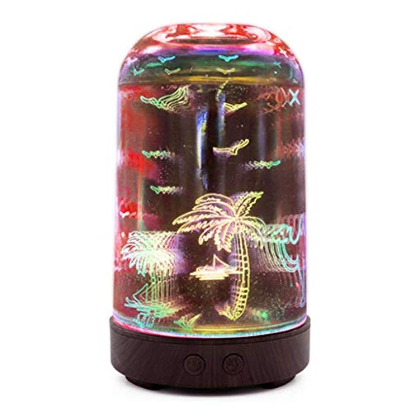 息切れミュート渦すばらしいLEDライト、便利な自動操業停止および大きい水漕が付いている3Dガラス100mlギャラクシー優れた超音波加湿器 (Color : Coconut tree)