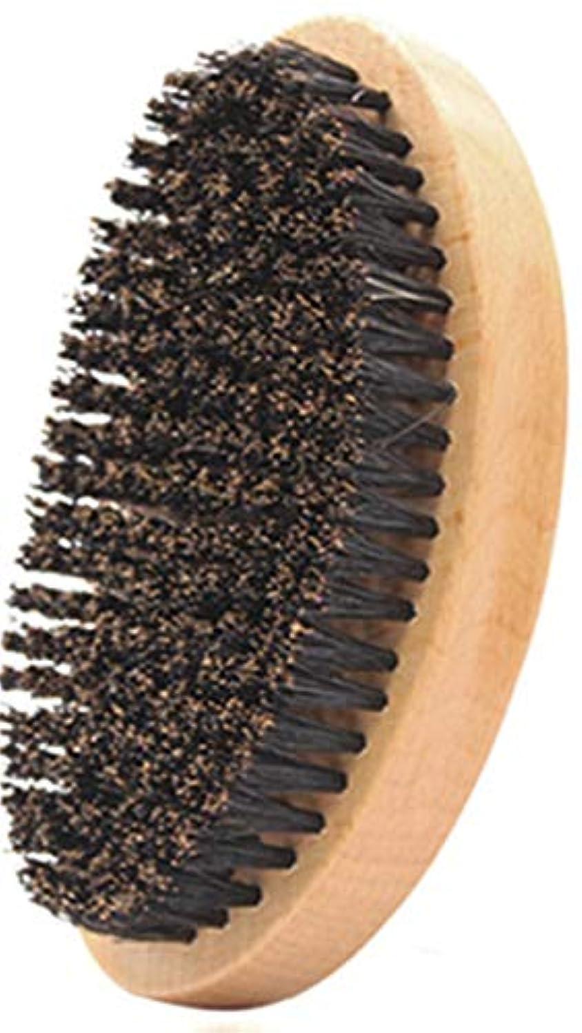 うがい二年生練習ZHER-LU 実用オーバル形状男性イノシシ毛剛毛顔のひげ口ひげブラシ (ブラウン)