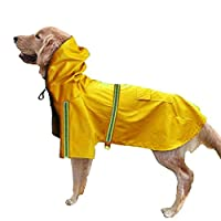 (Enerhu)ペットレインコート 犬 レインコート ポンチョ 柴犬 中型犬 ライフジャケット 防水 軽量 反射テープ付き 小型犬 大型犬 雨具 お散歩 イエロー L