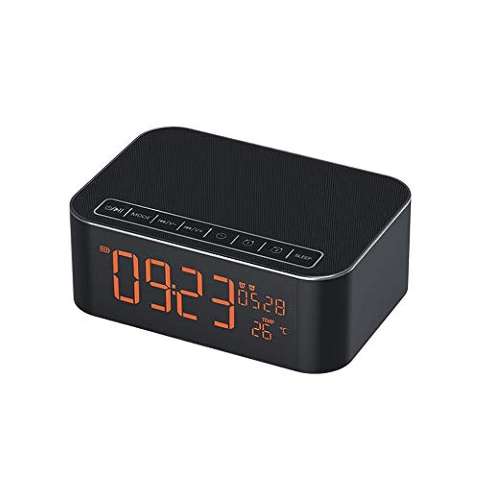 苦い講堂横たわる多機能目覚まし時計、温度検出4.2ブルートゥースサポート時間日付ダブル目覚まし時計スヌーズモードFMラジオ,Black