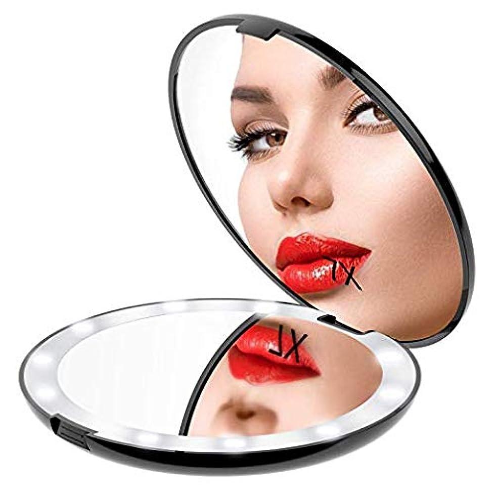 退却洞窟シマウマGospire 化粧鏡 7倍拡大鏡 携帯ミラー 化粧ミラー LEDライト 手鏡 折りたたみ式 コンパクト 角度調整可 (ブラック)