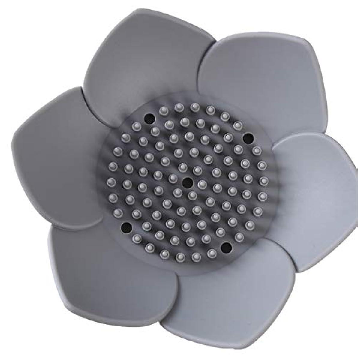 ほめる適応顕微鏡ZALING 浴室フラワーソープボックストレイドレンフレグランス手作りソープディスペンサーラックグレー