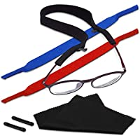 Kalevel 3pcs Sports Sunglasses Strap Retainer Unisex Neoprene Floating Eyewear Holder Adjustable No Tail Eyeglass Strap with Free Gift for Running Swimming (Mixed Colors)