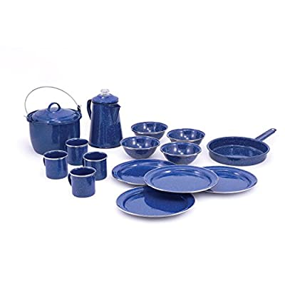 GSI Outdoors Pioneer Enamelware Camp Cooking and Table Set, 4 Place Settings