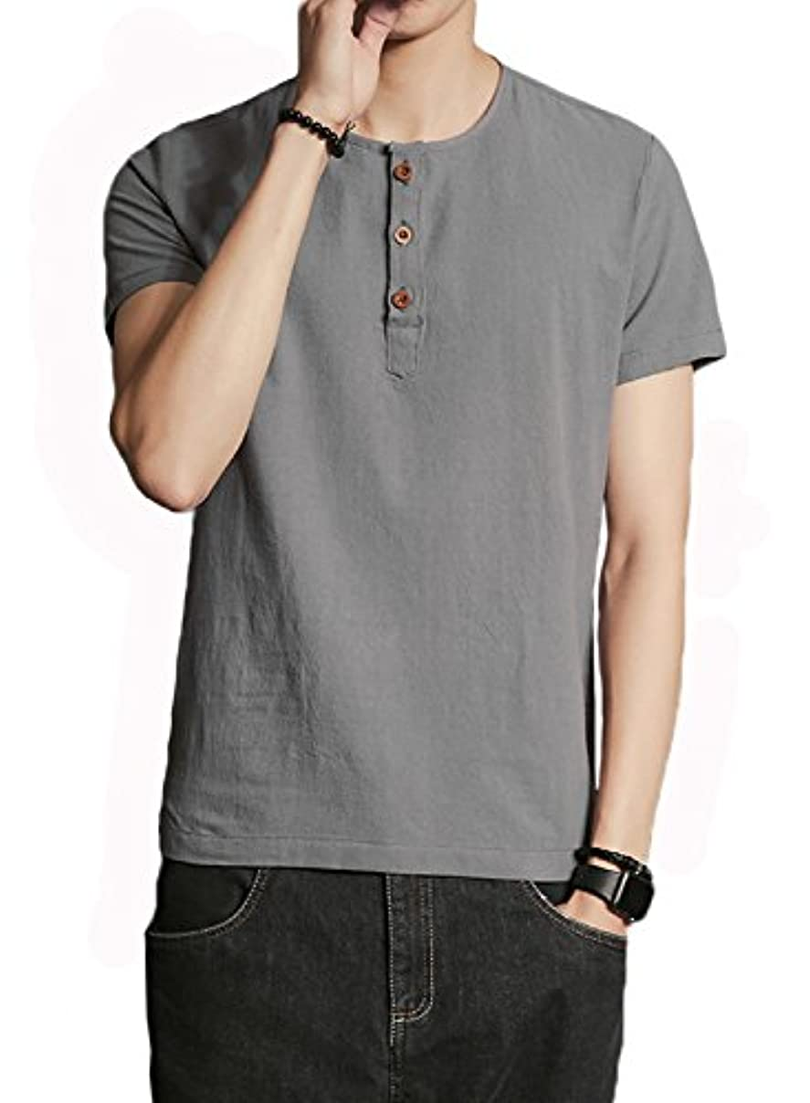 勉強する証人カタログ(イノ)Yino Tシャツ メンズ 綿麻 無地 半袖Tシャツ ヘンリーネック 夏 夏物 スリム ゆったり トップス オフィス カジュアル シンプル 着回し