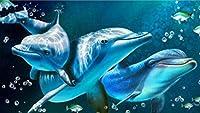 ダイヤモンド絵画イルカリビングルームの寝室の絵画家の装飾5D Diyクロスステッチ20×30 Cm H