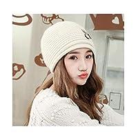 JMWJD ワイルド月帽子暖かいサイクリングビッグ髪の玉編みウールハット女性のソリッドカラーのかわいい韓国語バージョン 防寒帽 (Color : Beige)