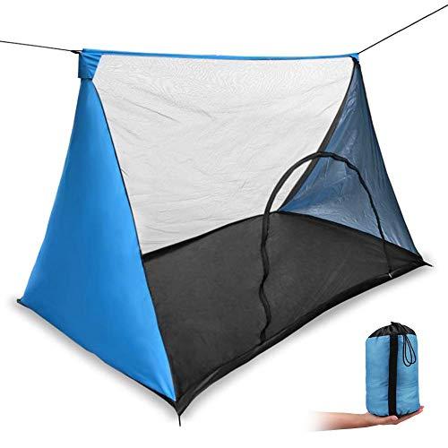 モスキートネット (蚊帳) 超軽量携帯式テント キャンピング、キャンプ、アウトドアに (青い色)