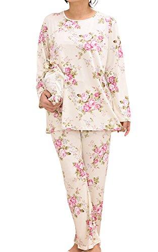 ケーズアイ シルクニット地レディースパジャマ ポーチ付き絹シルク100%滑らかな肌ざわり 長袖・長パンツ