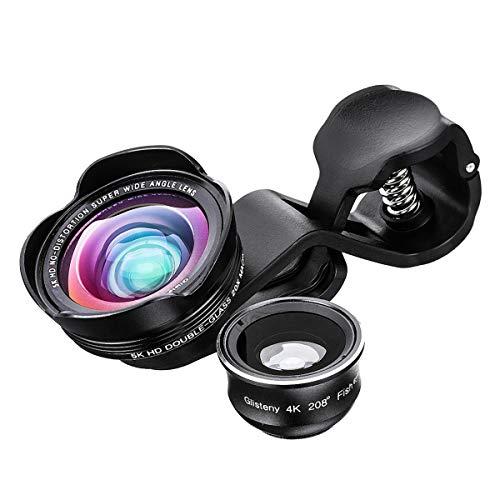 スマホレンズ GLISTENY カメラレンズキット 3in1 (20×マクロレンズ、208°魚眼レンズ、0.45倍広角レンズ) HD クリップ式 iphone/Android多機種対応