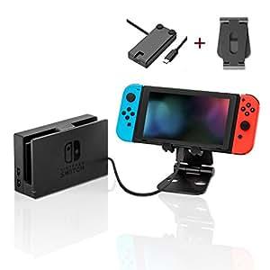 AMDISI Nintendo Switch用スタンドとドック用ケーブル スマホ/タブレット対応 アルミ 折りたたみ式 1M