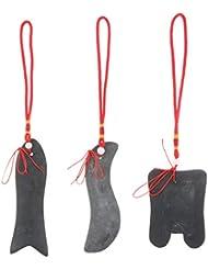 FLAMEER 3枚セット マッサージ かっさプレート 天然石 ボディ グアシャ スクレープツール コンポジット