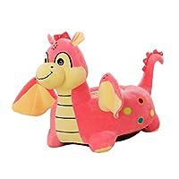 P Prettyia キッズ ベビーチェアカバー ベビーソファ クッションカバー 可愛い 漫画動物 ベルベット生地 55×50cm - フライドラゴン(ピンク)