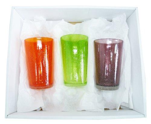 泡ロンググラス3個ギフトセット(オレンジ・緑・紫) 【感謝を...